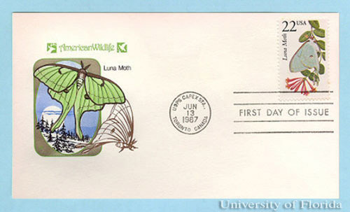 In 1987, the United States Post Office issued a first class stamp with the image of the luna moth, Actias luna (Linnaeus).